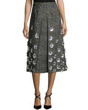Floral-Embellished A-Line Skirt, Graphite