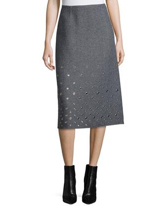 Grommet-Embellished A-Line Skirt, Banker