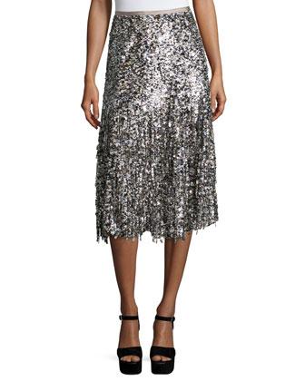 Paillette-Fringe A-Line Skirt, Nude