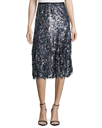 Paillette-Fringe A-Line Skirt, Black