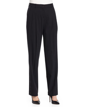Pleated-Front Slouch Tuxedo Pants, Black