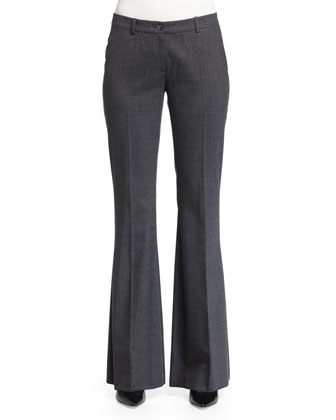 Mid-Rise Flare-Leg Trousers, Charcoal