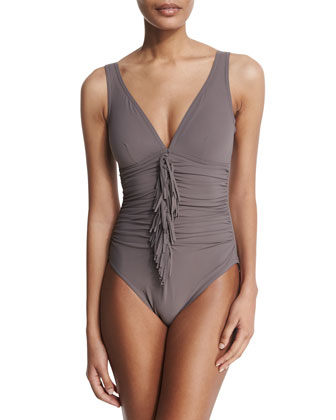 Fringe-Front Underwire V-Neck One-Piece Swimsuit