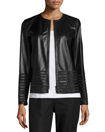 Aisha Leather Jacket with Illusion Trim, Black