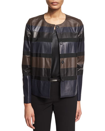 Leo Striped Leather Jacket
