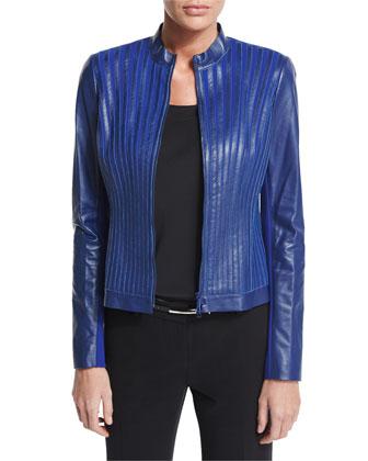 Biana Leather and Ponte Striped Jacket
