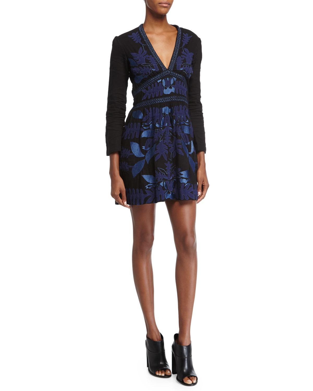 Aga Long-Sleeve Mini Dress, Black, Women's, Size: LARGE - Antik Batik