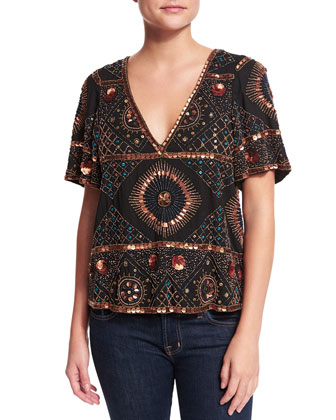 Imala Short-Sleeve Embellished Tee, Black