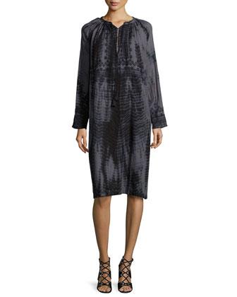 Inu Djellebah Long-Sleeve Shift Dress, Faded Black