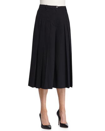 Pleated-Front Culotte Pants, Black