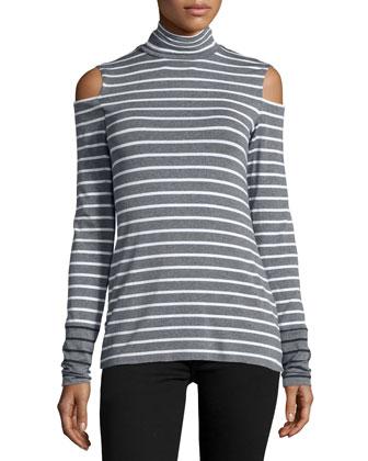 Tate Cold-Shoulder Striped Top, Marengo/Chalk