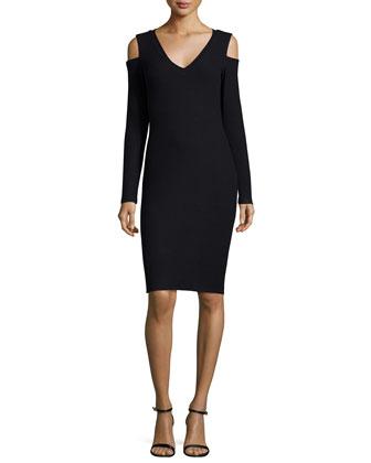 Muriel Cold-Shoulder Sheath Dress, Black