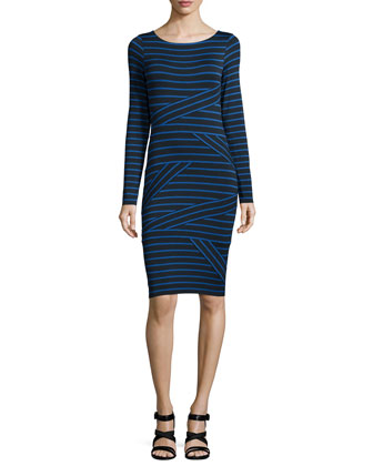 After-The-Party Striped Sheath Dress, Navy/Royal