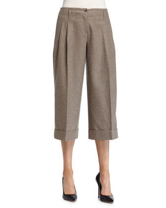 Pleated-Front Culotte Pants, Java