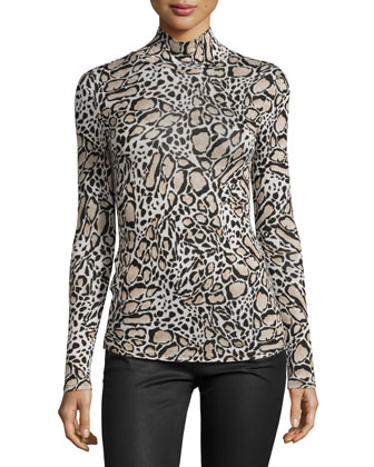 Animal-Print Mock-Neck Long-Sleeve Top, Champagne Combo