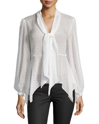 Swiss Dot Tie-Neck Blouse, Off White