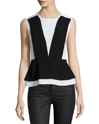 Taissa Two-Tone Peplum Top, Black Pattern