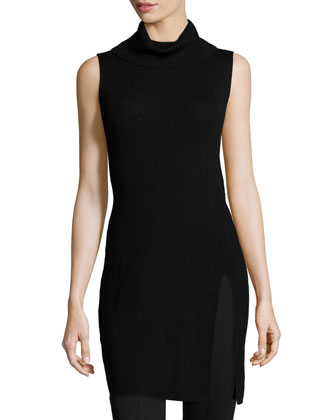 Sleeveless Turtleneck Tunic, Black