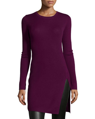 Long-Sleeve Fitted Tunic Dress, Port