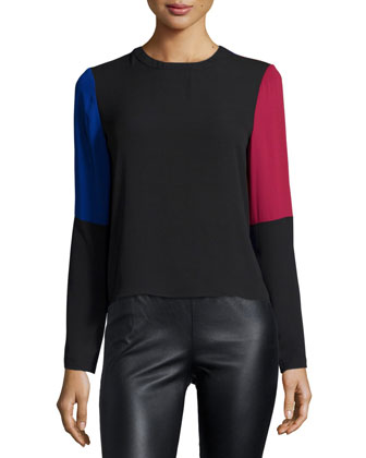 Donella Colorblock Draped-Back Top, Black Multi