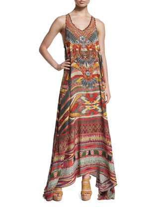 Oaxaca Wings Sleeveless A-Line Maxi Dress, Multi Colors