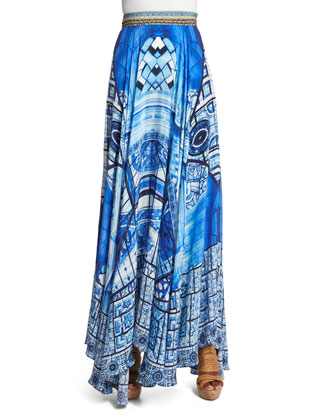 Power of Prayer Circle Maxi Skirt, Multi Colors