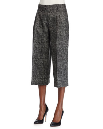 Pleated-Front Culotte Pants, Graphite