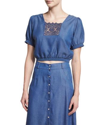Solstiss Short-Sleeve Blouse, Blue