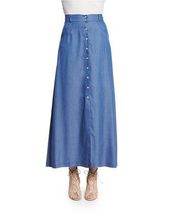Western High-Waist Maxi Skirt, Chambray