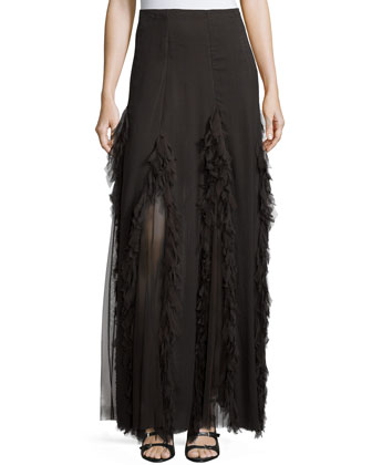 Mesh-Inset Maxi Skirt, Coal