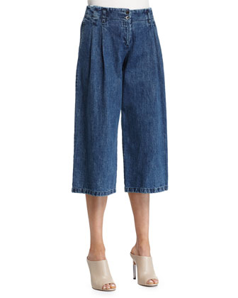 Pleated-Front Culotte Pants, Chambray