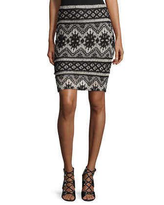 Garzata Pencil Skirt, Black/White