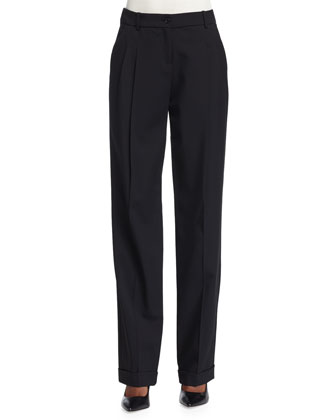 Pleated-Front Slouch Trousers, Black