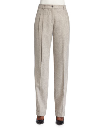 Pleated-Front Slouch Trousers, Taupe