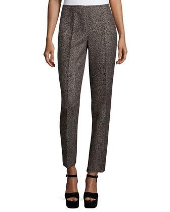Skinny Side-Zip Ankle Pants, Chocolate Multi