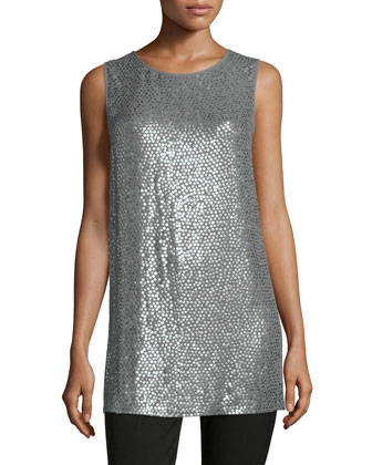 Round-Neck Paillette Long Tank, Slate