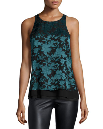 Makayla Sleeveless Floral-Print Blouse, Green/Black