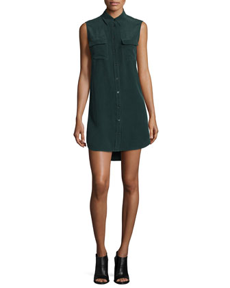 Slim Signature Sleeveless Shirtdress, Green