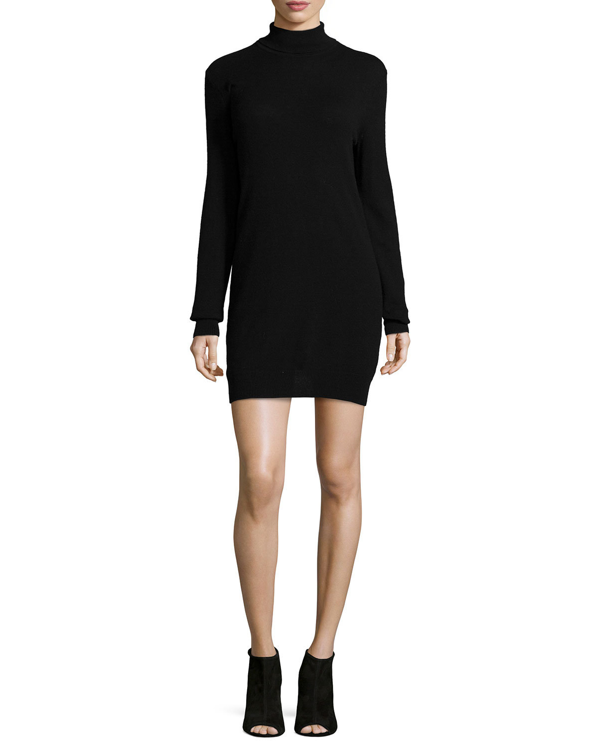 Oscar Long-Sleeve Cashmere Turtleneck Dress, Size: X-SMALL, BLACK - Equipment
