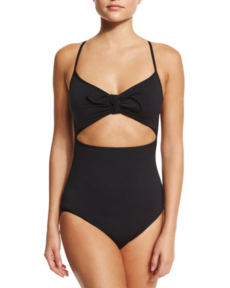 Crisscross-Back One-Piece Swimsuit, Black