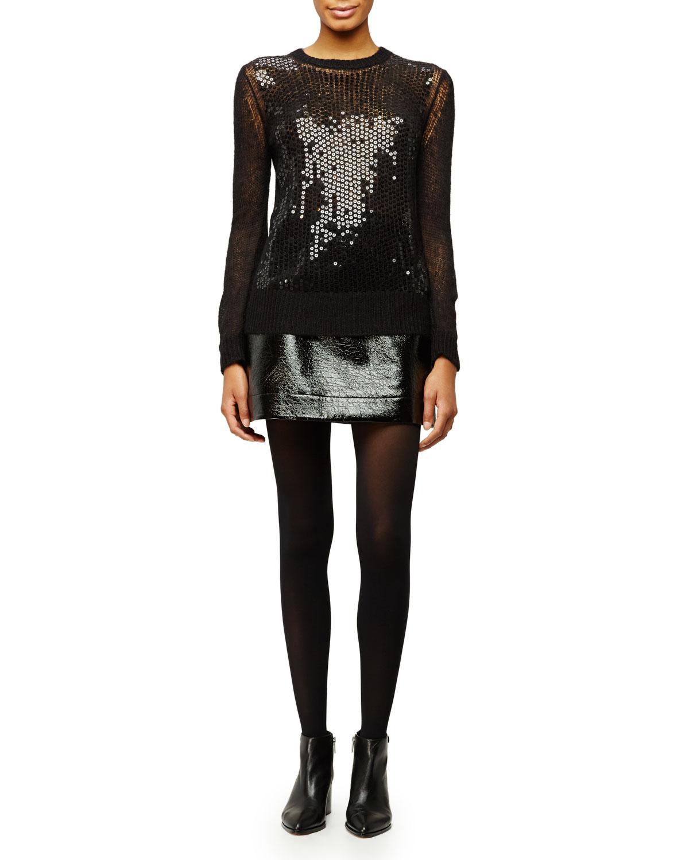 Crewneck Sequined Mesh Sweater, Size: MEDIUM, Black - MICHAEL Michael Kors