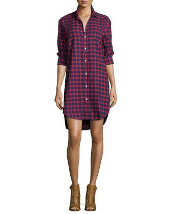 Mary Plaid Cotton Shirtdress, Red/Blue