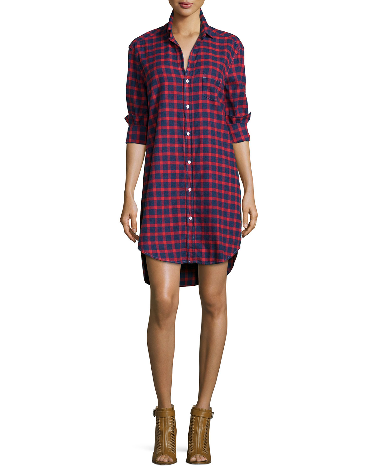 Mary Plaid Cotton Shirtdress, Red/Blue, Size: X-LARGE, Blue Pattern - Frank & Eileen