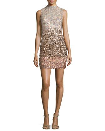 Cosmic Beam Embellished Mini Dress, Bellini