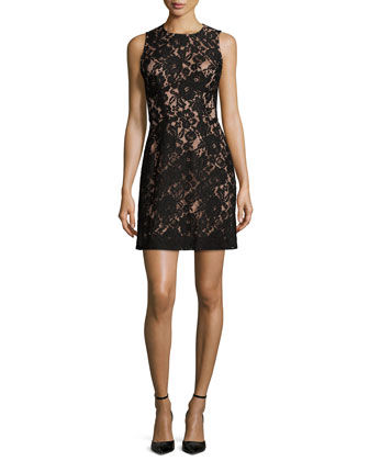 Heartbreaker Lace Sheath Dress, Black/Nude
