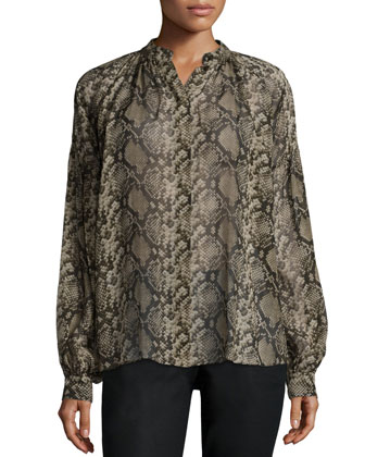 Long-Sleeve Snake-Print Peasant Blouse, Taupe