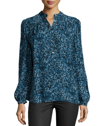 Long-Sleeve Button-Front Blouse, Chambray