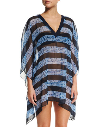 V-Neck Striped Coverup Tunic, Crew Blue