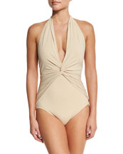 Twist-Front Halter One-Piece Swimsuit