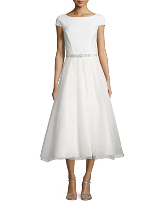 Cap-Sleeve Embellished-Waist Midi Dress, Ivory